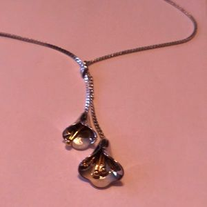 Jewelry - Double silver tone Calla Lily necklace.